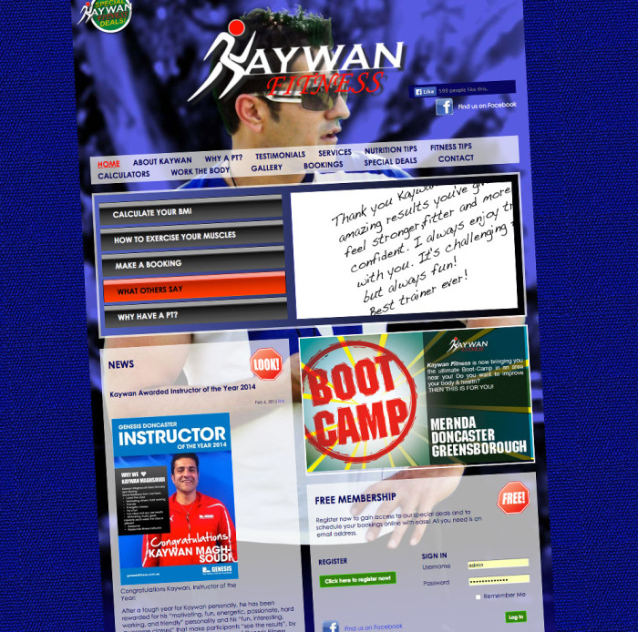 Kaywan Fitness Website home page