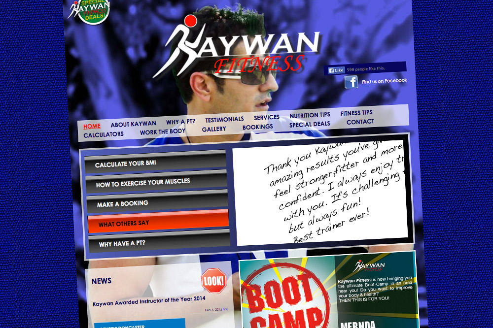 Kaywan Fitness Website home page 01