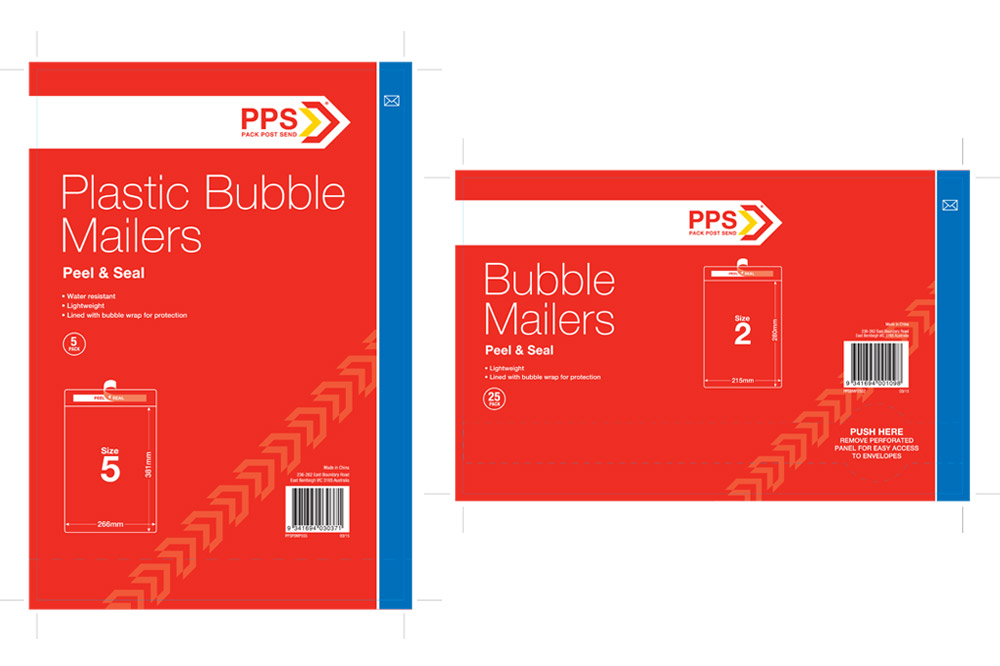 PPS Packaging Finished Art - Bubble Mailers