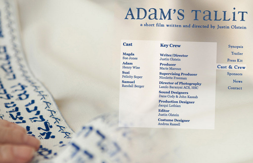 'Adam's Tallit' Short Film Website Cast & Crew Page