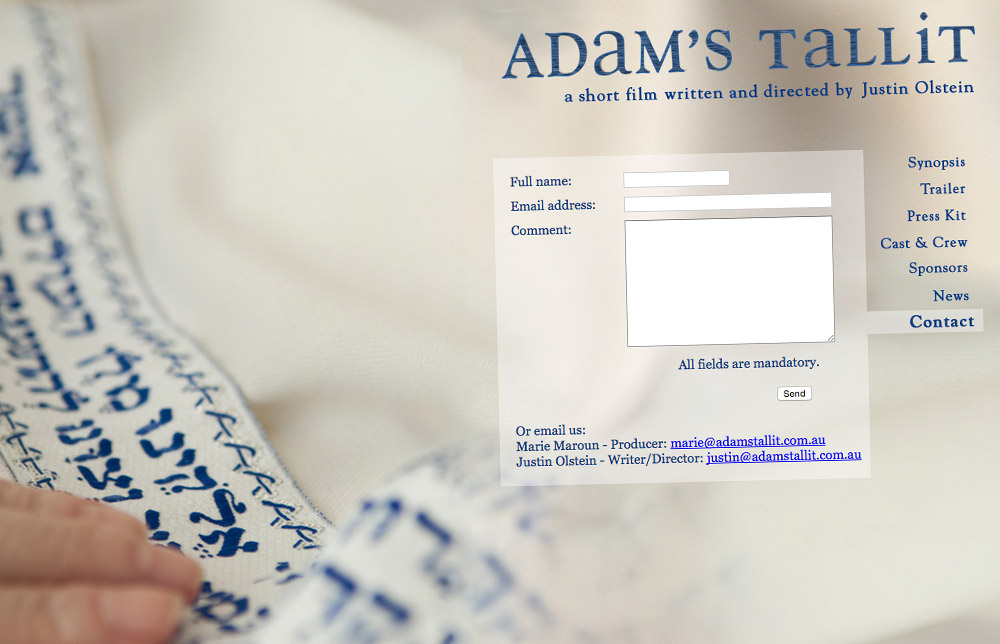'Adam's Tallit' Short Film Website Contact Page