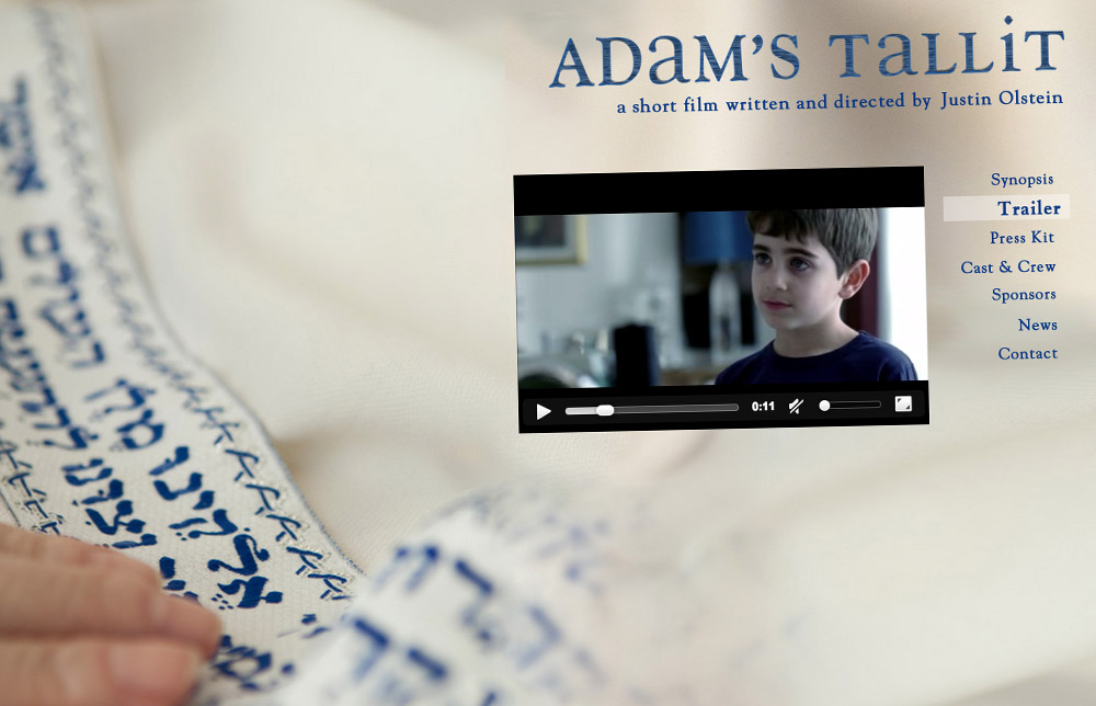 'Adam's Tallit' Short Film Website Trailer Page