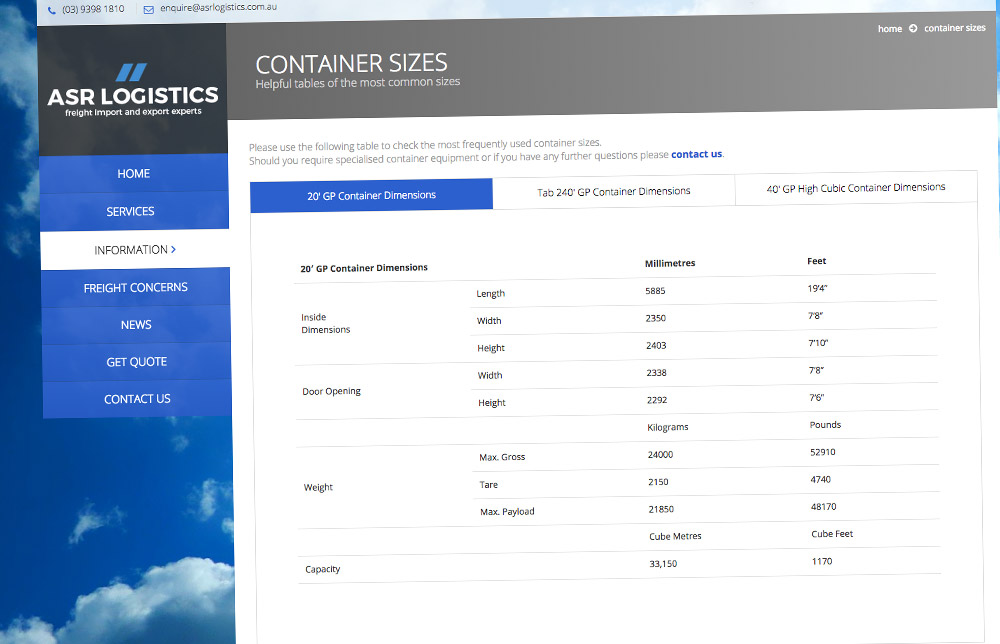 ASR Logistics Website Container Size Tabbed Content