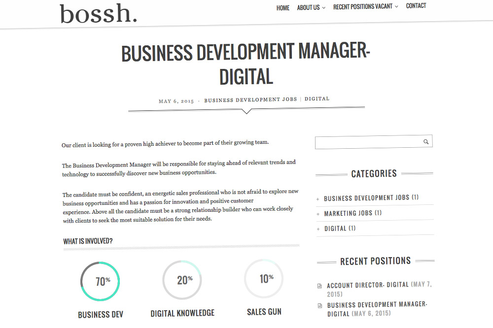 Bossh. Website Job Page