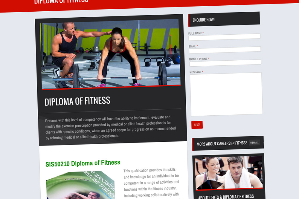 K1Sport Website Fitness Career page