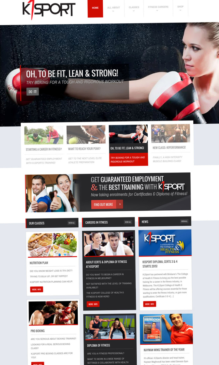 K1Sport Website Home Page