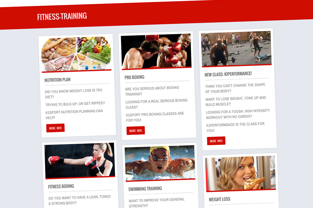 K1Sport Website Fitness Training Page