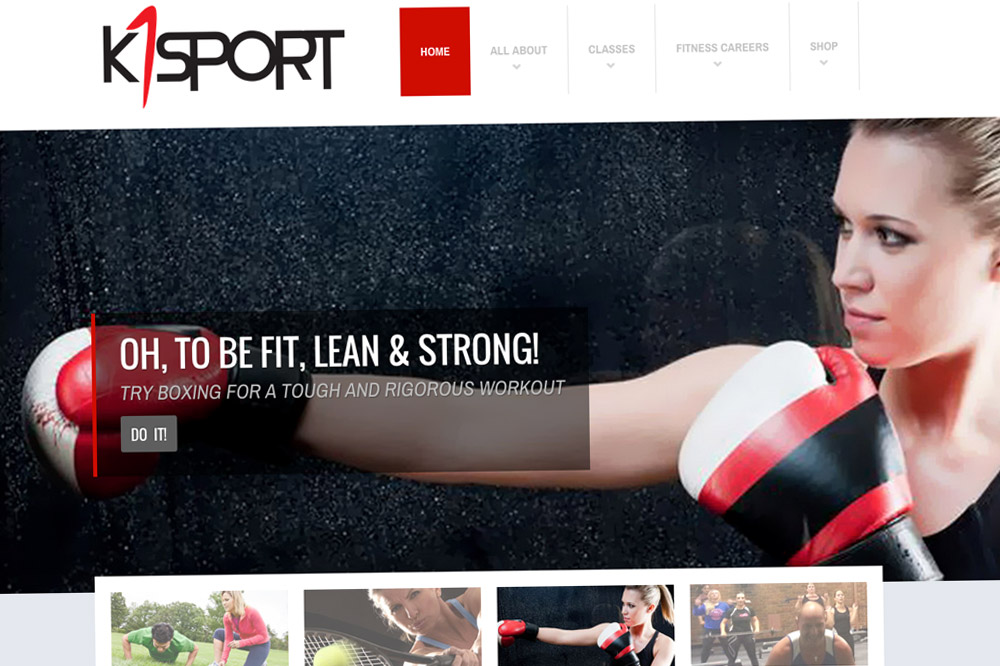 K1Sport Website Home Page 01