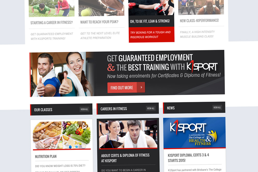 K1Sport Website Home Page 02