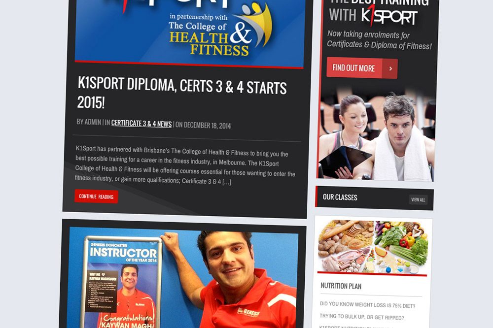 K1Sport Website News Page