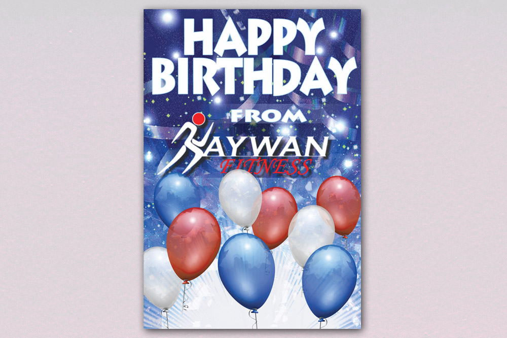 Kaywan Fitness Birthday Card - Front