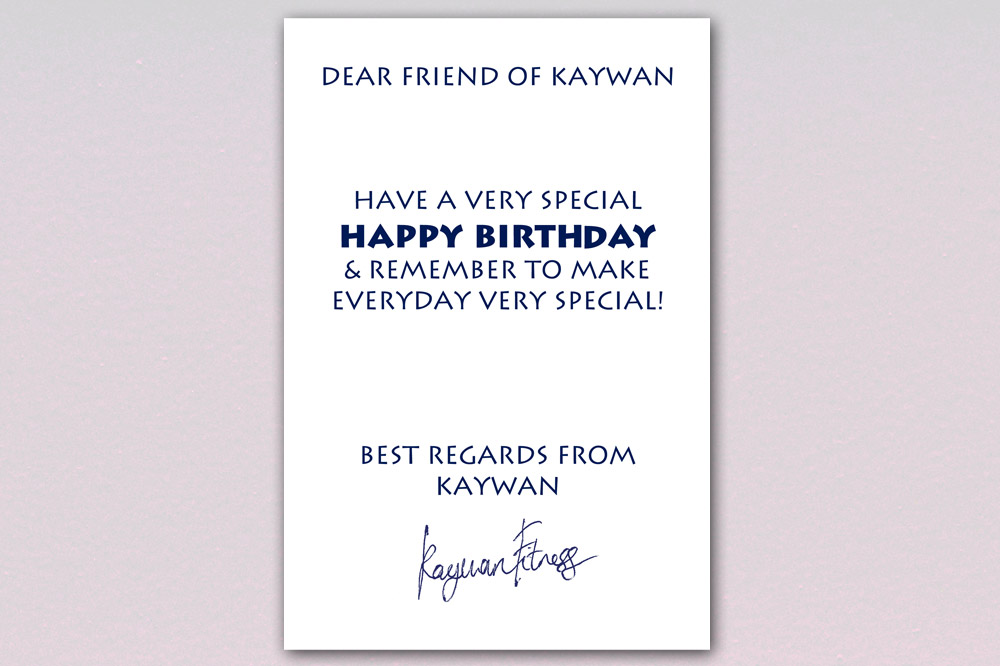 Kaywan Fitness Birthday Card - Inside