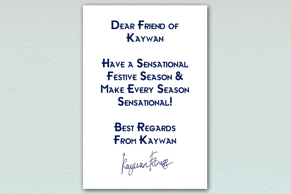 Kaywan Fitness Christmas Card - Inside