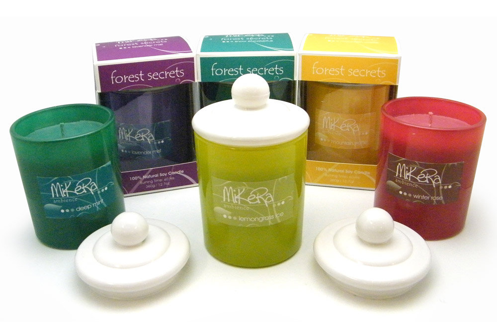 'forest secrets' Candles in Coloured Glasses Group