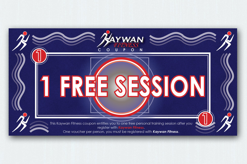 Kaywan Fitness 1 Free Session Voucher - 210 x 90mm