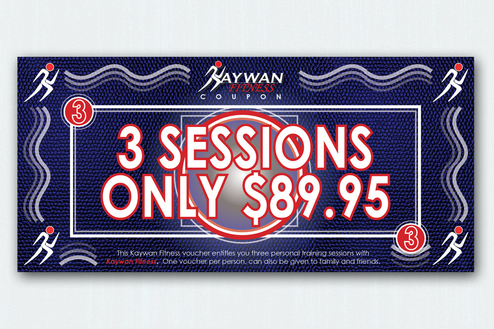 Kaywan Fitness 3 Session Voucher - 210 x 90mm