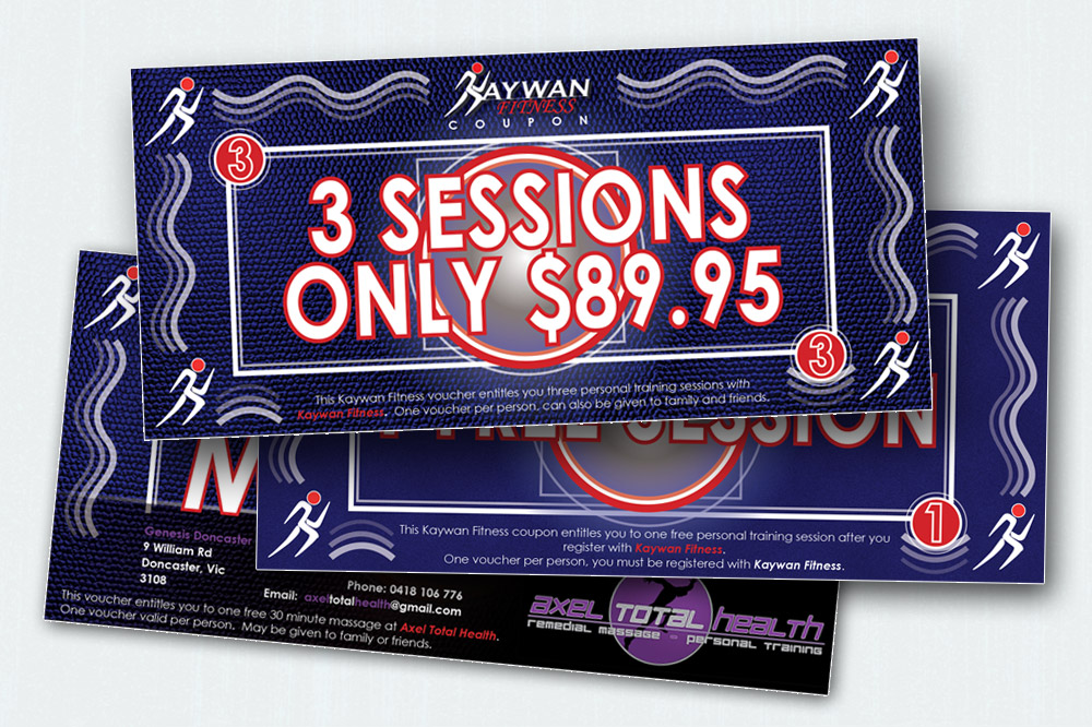 Kaywan Fitness Selection of Vouchers - 210 x 90mm each