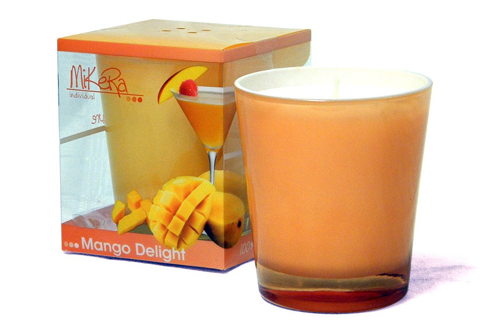 Packaging Design for 'tropical pleasure' Range of Candles - Mango Daiquiri Scent