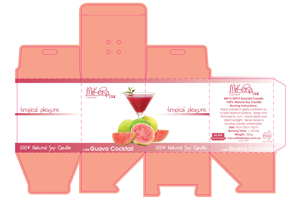 Die Line and Packaging Design for 'tropical pleasure' Range of Candles - Guava Cocktail Scent