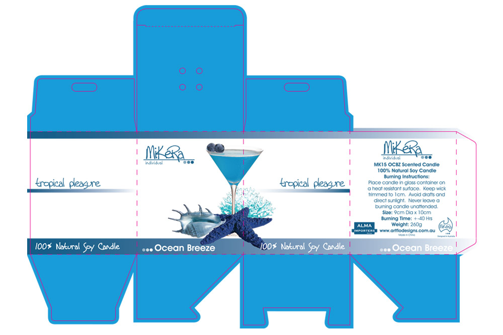 Die Line and Packaging Design for 'tropical pleasure' Range of Candles - Ocean Breeze Scent